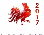 NOTICE Lunar New Year's Holidays Calendar 2017