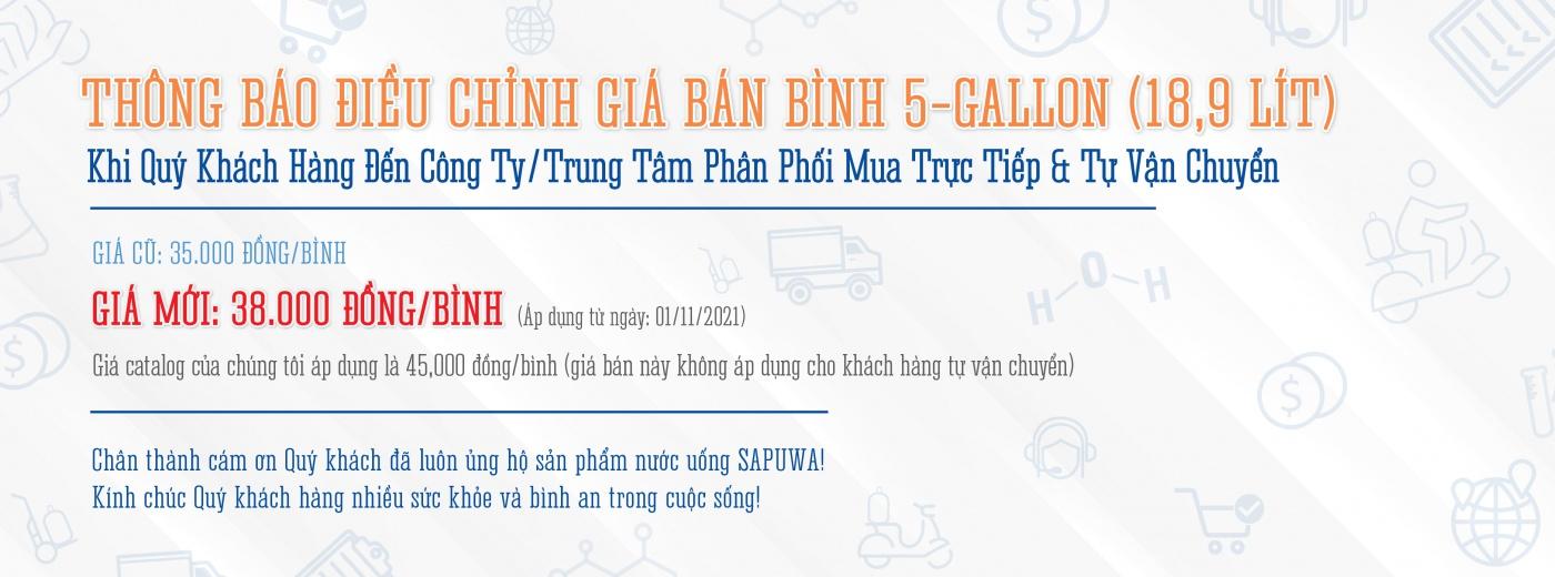 THÔNG BÁO ĐIỀU CHỈNH GIÁ BÁN BÌNH 5-GALLON (18,9 LÍT)