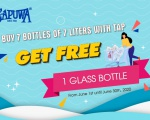 GET FREE 1 GLASS BOTTLE WHEN  BUY 3 BOTTLES OF 7 LITERS WITH TAP