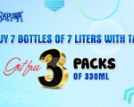 GET FREE 3 PACKS OF 330ML WHEN  BUY 7 BOTTLES OF 7 LITERS WITH TAP