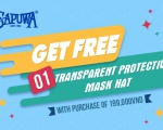GET FREE 1 TRANSPARENT PROTECTIVE MASK HAT WITH PURCHASE OF 199,000VND WHEN ORDER THROUGH WEBSITE