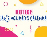NEW YEAR'S HOLIDAYS CALENDAR 2020 NOTICE