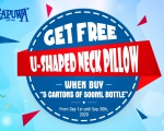 NATIONAL DAY PROMOTION - GET FREE 1 U-SHAPED NECK PILLOW WHEN BUY 5 CARTONS OF 500ML BOTTLE