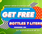 GET FREE 1 BOTTLE 7 LITERS WHEN BUY 1 CARTON OF 48 BOTTLES 330ML