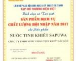 Tỏa sáng thương hiệu SAPUWA với Giải thưởng của tạp chí Thương hiệu Việt